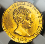 1844 Spain Queen Isabel Ii. Gold 80 Reales Coin 6.77gm Barcelona Ngc Ms63