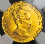 1845 Spain Queen Isabel Ii. Rare Gold 80 Reales Coin. Unlisted Date Ngc Ms63