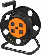 Dewenwils Extension Cord Storage Reel Heavy Duty Open Cord Reel With 4 Outlets