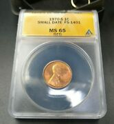 1970 S Lincoln Memorial Cent Penny Anacs Ms65 Red Small Date Variety Fs-1401