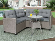 Outdoor Garden Furniture Patio Wicker Rattan Sectional Set Table And Pillows Gray