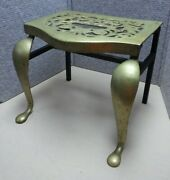 Antique Vintage Brass And Iron Footman Fireplace Trivet Side Table Stand