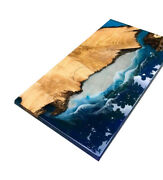 Ocean Design Epoxy Table Walnut Furniture With Iron Stand Decors Made To Order