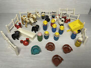Vintage Lot Fisher Price Little People Farm People Animals Wooden Hex Hong Kong