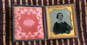 Antique 1800s Picture Photograph Hinged Book Frame Leather Gilt Engraved Leather