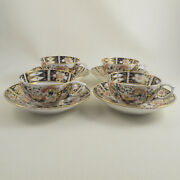 Bloor Derby C1825 Set 4 Witches Pattern Japan Imari Cups W Spode Saucers