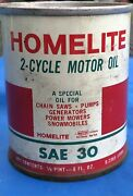 Vintage Homelite Chainsaw Oil Tin Can 1/2 Pint Advertising Full Nice