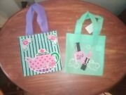 Girls Green Mini Tote Bag Sets 6x6 Tea Time And Spa Day Set Of 2... Green Set