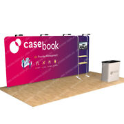 20ft Portable Custom Trade Show Display Booth Set With Tv Bracket Lights Counter