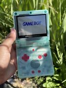 Nintendo Gameboy Advance Sp Clear Blue Ips V2 Custom Console Comes With Charger