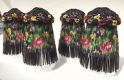 Exquisite Set Of 4 Antique Bohemian Hand Beaded Fringe Glass Bead Lamp Shades