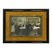 Miniature Judaica Watercolor Depicting Child Reading From Talmud