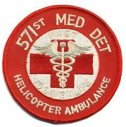 4 Army 571st Medevac Med Det Helicopter Ambulance Hook And Loop Embroidered Patch