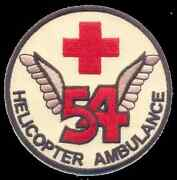 Army 54th Air Ambulance Helicopter Round Red Cross Military Embroidered Patch