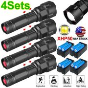 3x/4x 990000lm Zoomable Led Xhp50 Flashlight 3modes Aluminum Battery Charger Set