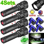 3/4 990000lm Zoomable Led Xhp50 Flashlight 3modes Aluminum Battery Charger Set