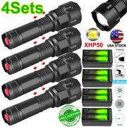 3/4set 990000lm Zoomable Led P50 Flashlight Aluminum Torch Light Battery Charger