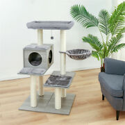 Usa 3 Level Tower With Scratching Climb Activity Toys Pet Bed House Cat Tree New