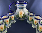 Mexican Hand Blown Glassware - Hand Painted Pitcher And 6 Drinking Glasses