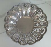 Antique Chinese Export Sterling Silver Open Work Basket Bowl 12- 490 Grams