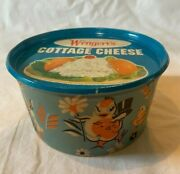 Vintage Wengert's Dairy Cottage Cheese Cardboard Container W Metal Lid Easter B