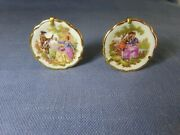 2 Miniature Plates Courting Couple Gold Trim Stands Limoges France 1-3/4