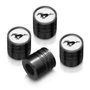 Ford Mustang In White On Black Aluminum Cylinder-style Tire Valve Stem Caps
