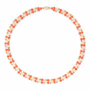 Coral Freshwater Pearl Choker Necklace 17 Vintage 14k Yellow Gold Chain Strand