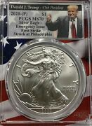 2020-p Silver American Eagle Pcgs-ms70 Emergency Issue First Strike Trump