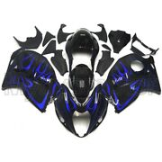 Motorcycle Abs Fairings For Suzuki Gsxr1300 1997 - 2007 Black With Blue Flames