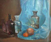 Vintage Oil Painting Still Life Fruits And Bottles