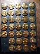 Collection 33 Orig Ww2 World War Two Collar Disc Medical Tank Enlisted Etc