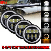 4x 5-3/4 5.75 Led Headlight Amber Angle Eyes Fit For Chevy Nomad 1958-1961