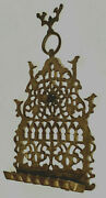 Large Antique Moroccan Brass Oil Menorah Wolderful Old Patina 12 X 7 X 2 1/2 In