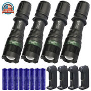 Tactical Led Flashlight Bright Led Rechargeable Zoom Aluminum Torch Charger Set