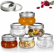 Canning Jars With Silver Metal Airtight Lids And Bands 6 Pack,4 Oz Clear Glass