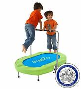 Jump2it Kids Portable 2 Person Mini Trampoline With Adjustable Central Handle An