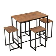 5 Piece Metal Dining Table Set W/ 4 Chair Wood Top Dining Room Furniture Popular