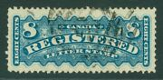 Sg R8 Canada 1875-92. 8c Bright Blue Registration Stamp. Very Fine Used Cat Andpound300