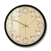 Cartoon Cat Expression Moods Decorative Wall Clock Kitten Paws Kitty Face Lovers