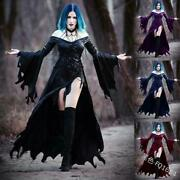 2021 Womens Retro Punk Gothic Witch Medieva Dress Carnival Party Costume Cosplay