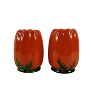 Vintage Red Pepper Salt And Pepper Shaker Set Made In Occupied Japan 3 3/4 Tall