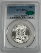 1951 S Franklin Half Dollar 50c Pcgs Certified Ms 66 Cac 219