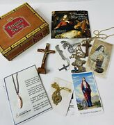 Vintage Religious Cigar Box Lot Medals Necklaces Jewelry Cross Jesus crucifix