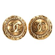 Authentic Round Coco Mark Earrings Gold Ladies Store Beauty L672778658