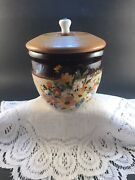 Rrp Roseville Co Usa Hand Painted By Mccury 1985 Small Stoneware Crock With Lid