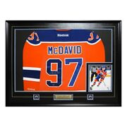 Connor Mcdavid - Edmonton Oilers Framed Signed Jersey With 8x10 Photo - Replica