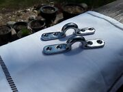 Vintage Chrome Tie Offs. Truck, Boat, Dock, Deck Cleats. Looped Fasteners.