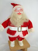 Pitiful Santa. 1950and039s Or 60and039s Harold Gale Type Red Flocked Suit 10 Inches