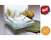 12-piece Square Clear Glass Dinnerware Dining Set, Dinner Meal Glassware New